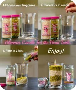 How to create a Glimmer Candle. This is the full size Glimmer candle, $7!! Add two jars of sprinkles to create each candle!